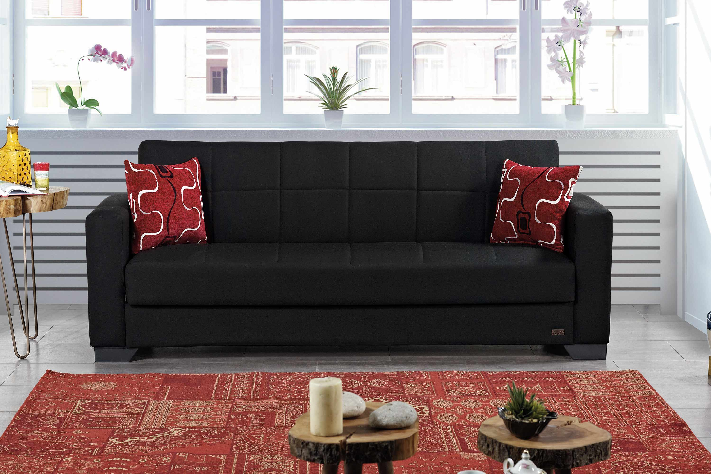 Durable Upholstery Fabric For Sofa Vermont Black Fabric Sofa Bed By Empire Furniture Usa