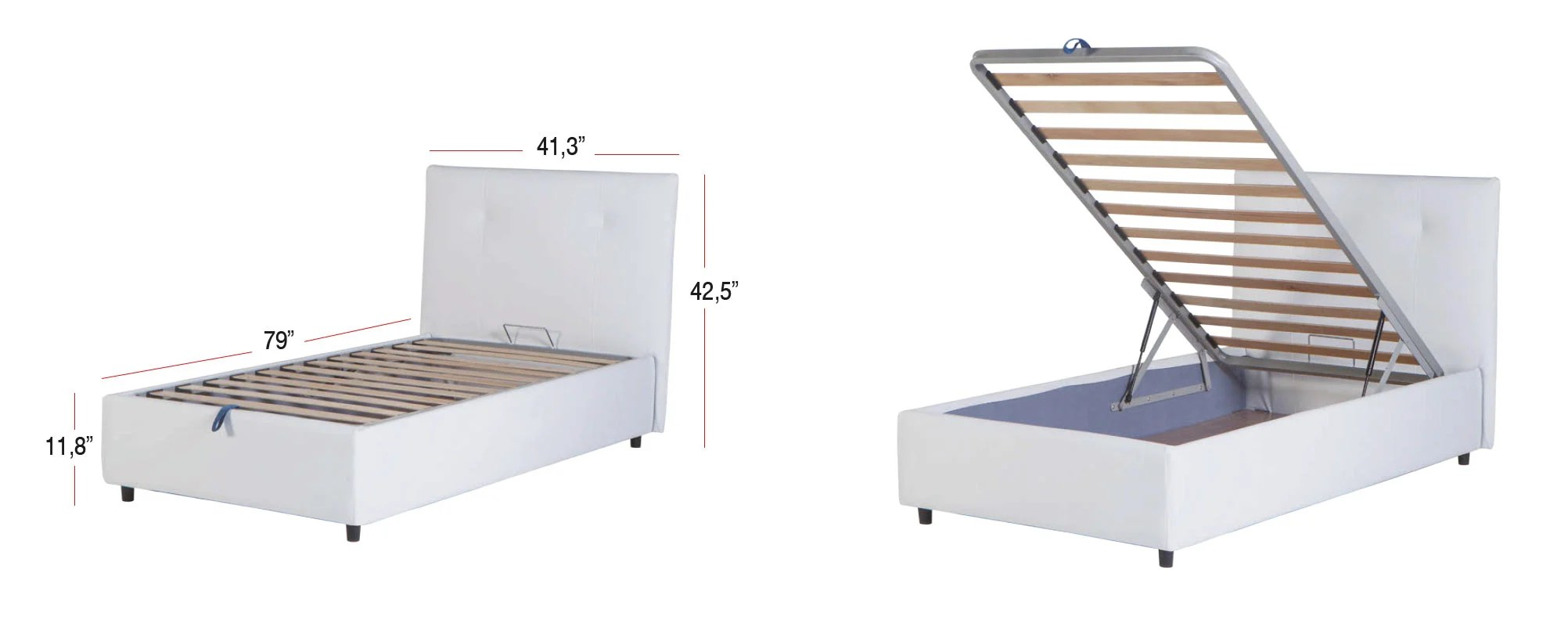 Lift Storage Bed Osaka Lift Up Storage Bed Leather Textile Twin By Sunset