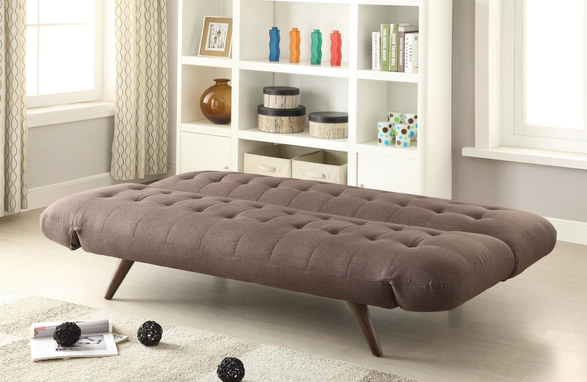 Retro Sofa Wood Retro Modern Sofa Bed With Tufting Cone Legs