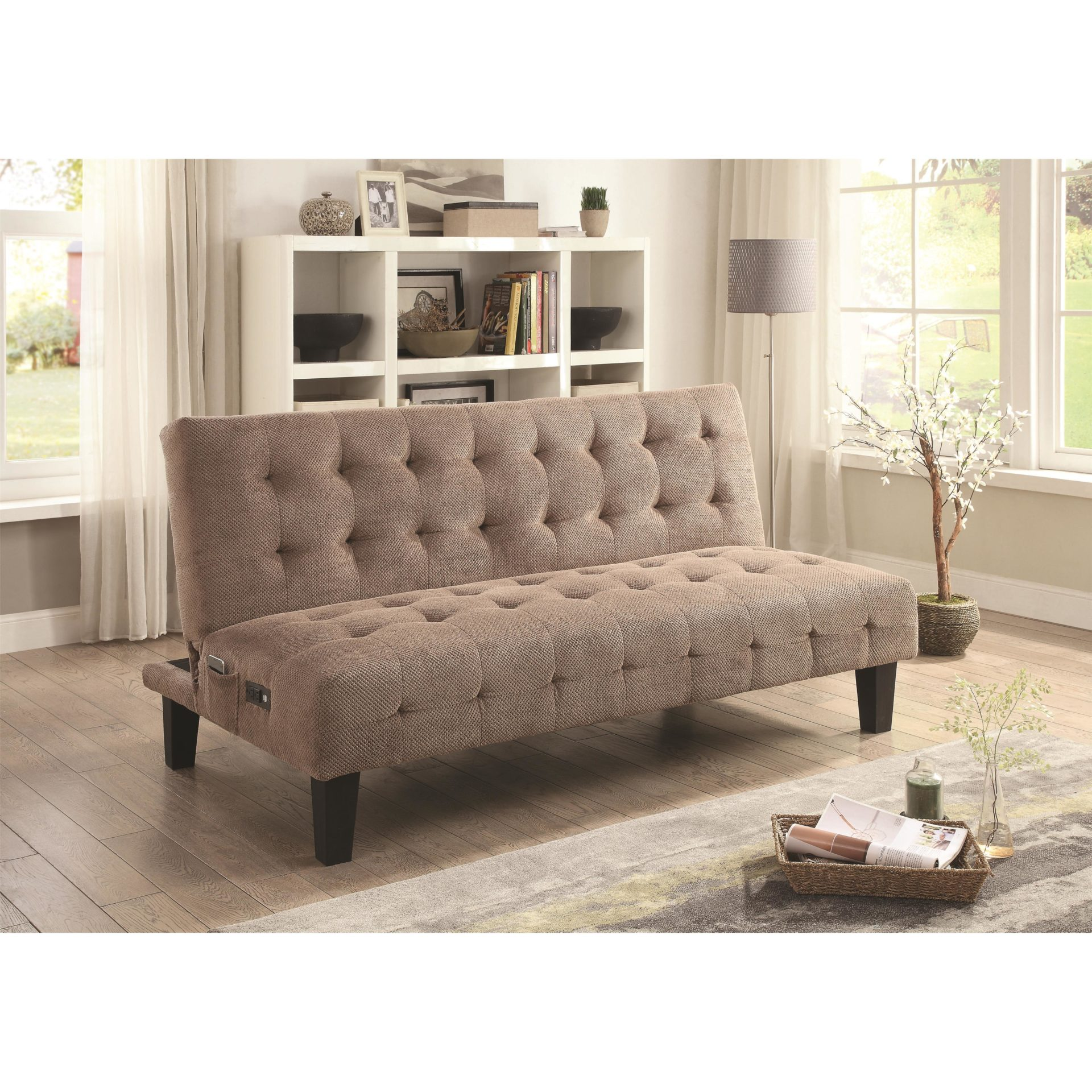 Adjustable Futon Sofa Bed With Usb And Power Ports Taupe Futon World
