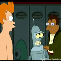 Fry joins Leela and Amy in the showers so now it's a threeway!