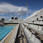 Broken chairs in the seating for an outdoor pool which forms part of the Athens Olympic Aquatic Centre. Picture: Oli Scarff/Getty Images Europe