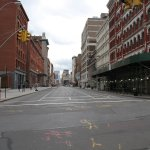 Usually alive with shoppers on a Friday, SoHo is dead quiet