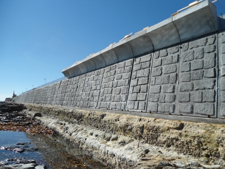 A completed section of the new sea wall at Three Anchor Bay (photo courtesy of Concrete Manufacturers Association)