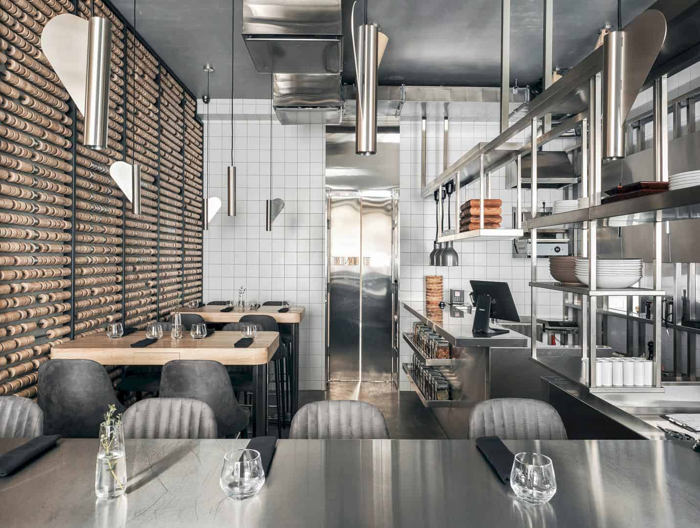 Interiors Cuisine Birch Modern Interior Of Author S Cuisine Restaurant With Two
