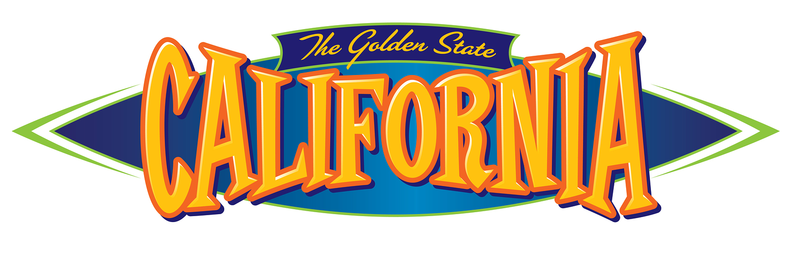 California The Golden State Vector Typographic Symbol with State Nickname Slogan