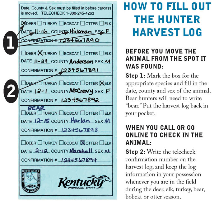 Kentucky Department of Fish  Wildlife Recording, Checking, Tagging