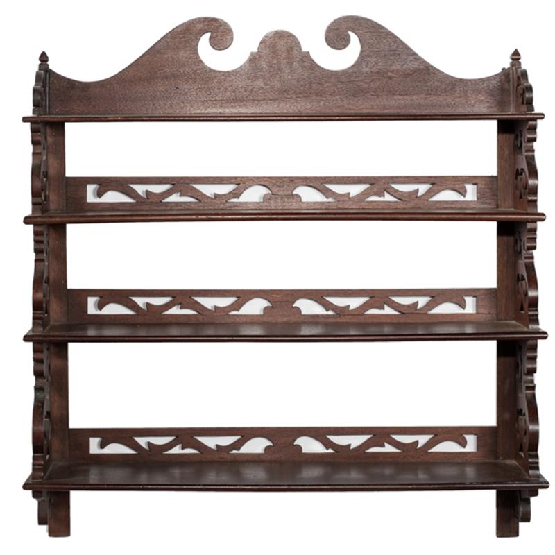 Mahogany Scroll Cut Wall Shelf Cowan39s Auction House