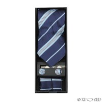 New Mens 4 Piece Tie Set Gift Box Cufflinks Pocket Square