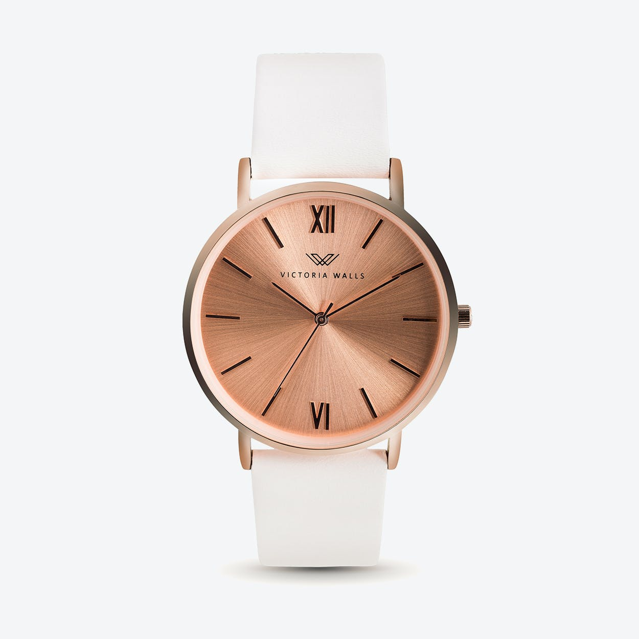 Leather Strap Rose Gold Watch En Rose Gold Watch W Rose Gold Face White Nappa Leather Strap