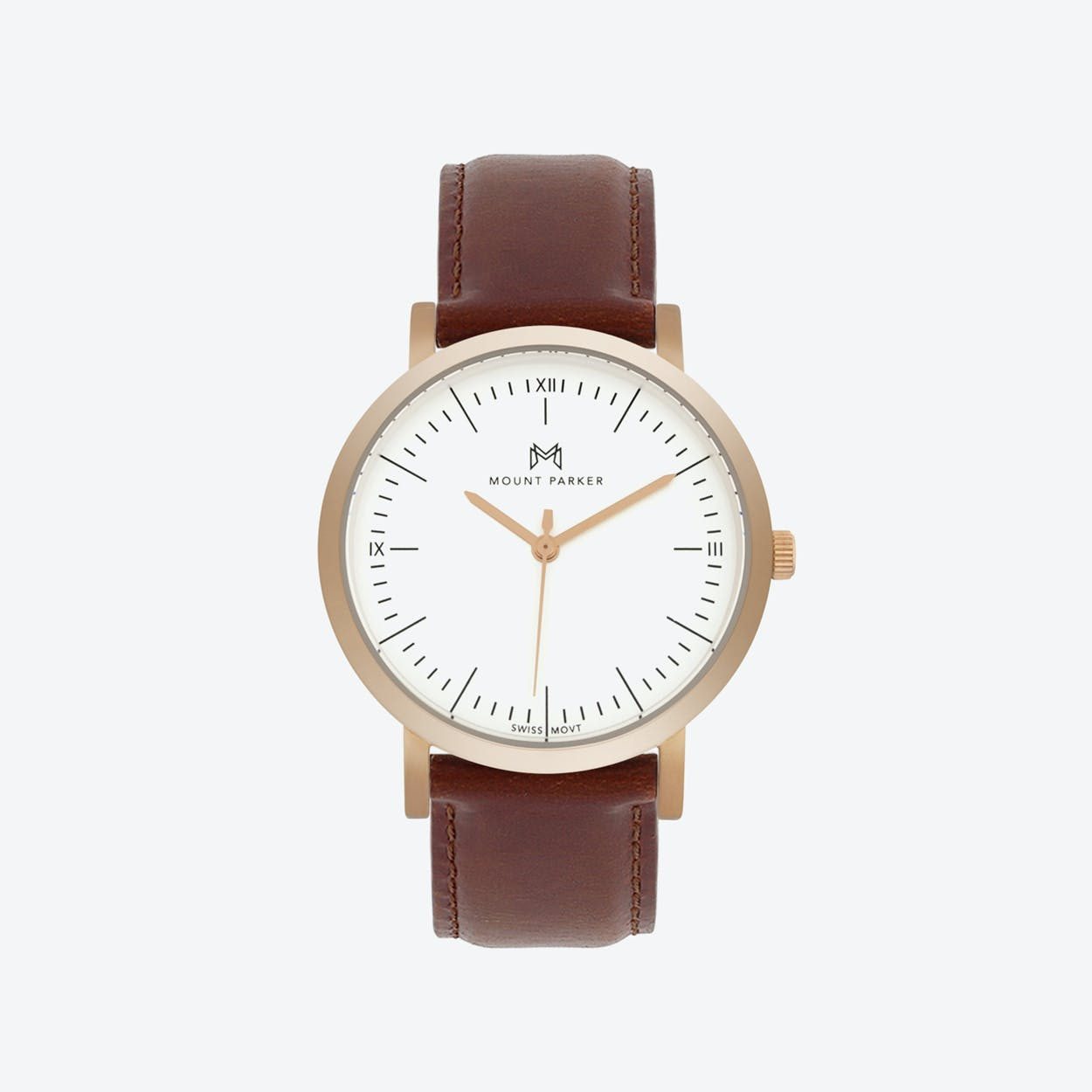 Leather Strap Rose Gold Watch Odyssey Watch Rose Gold With Brown Leather Strap 36mm