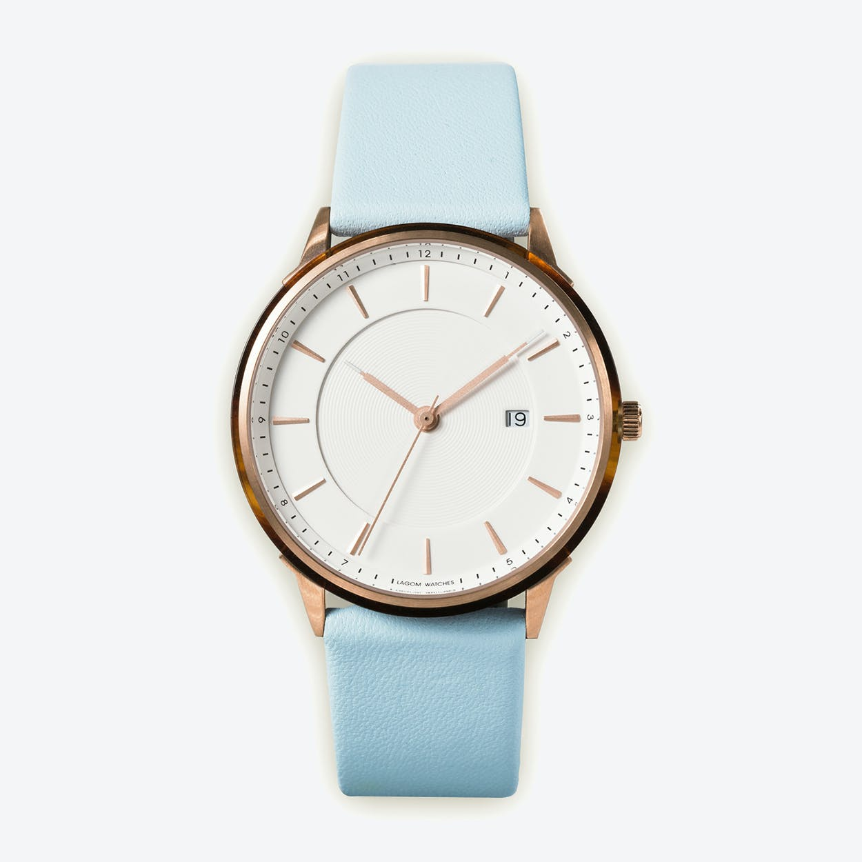 Leather Strap Rose Gold Watch En BÖrja Rose Gold Watch In Offwhite Face And Pale Blue Leather Strap