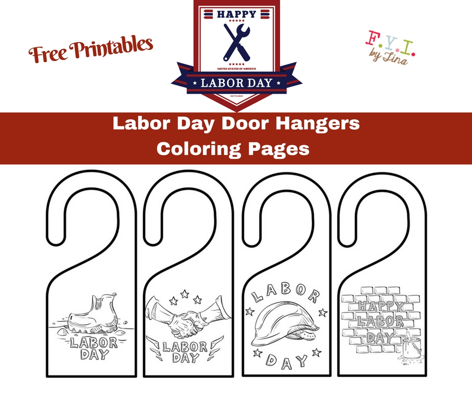 Labor Day Door Hangers Coloring Pages - Free Printable \u2022 FYI by Tina