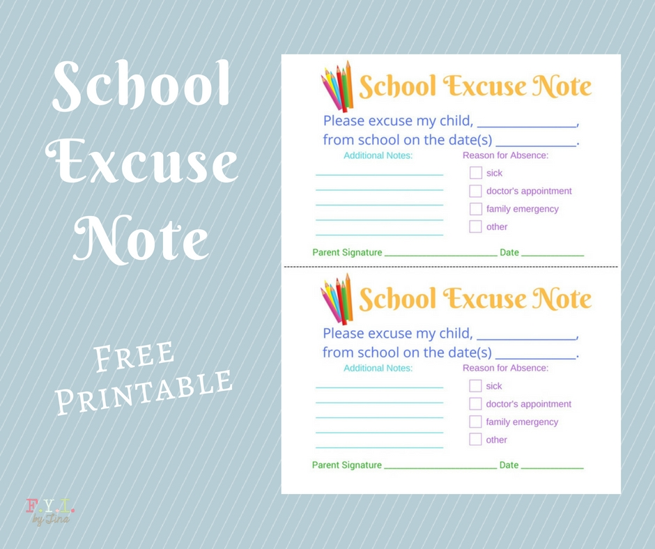School Excuse Note - Free Printable \u2022 FYI by Tina