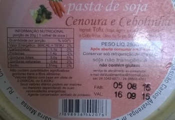 Pasta de Soja Cenoura e Cebolinha Daizu