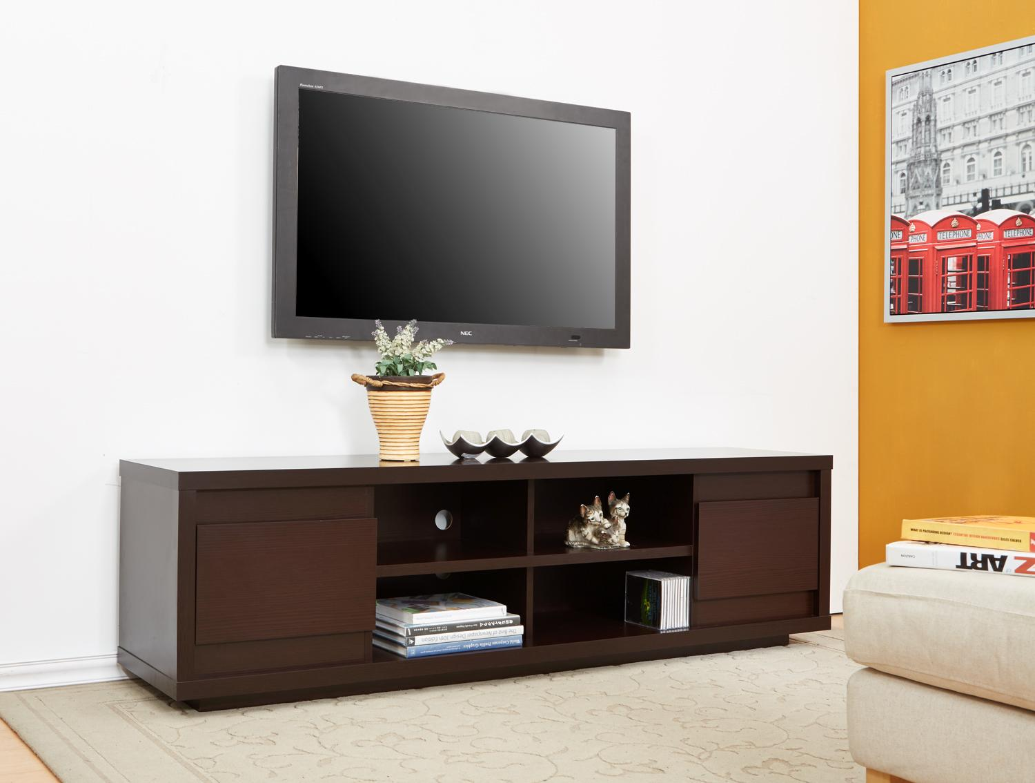 Tv Stand Enitial Lab Kirry Multi Storage Tv Stand Walnut
