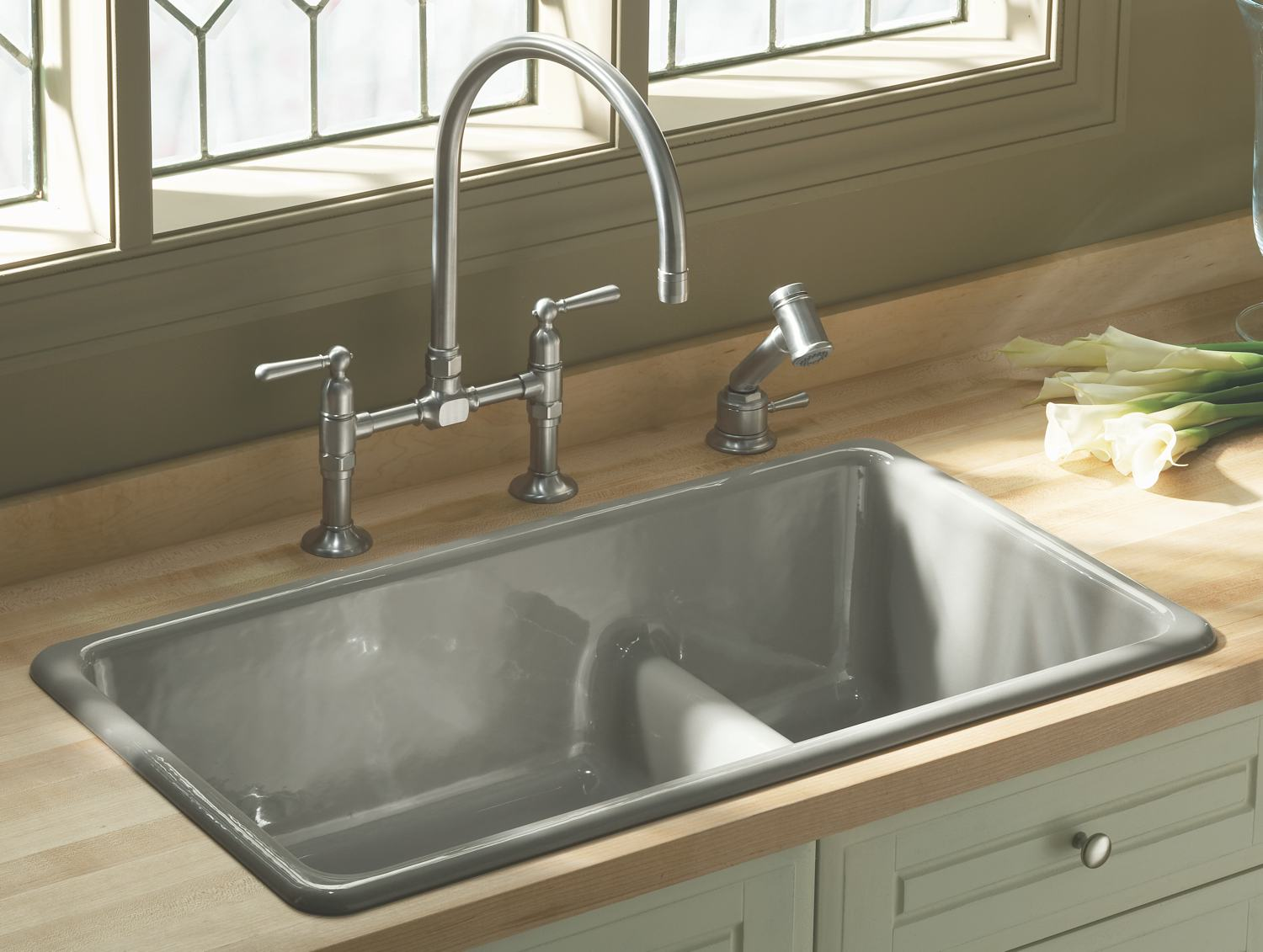Kitchen Sinks Kohler K 6625 Iron Tones Smart Divide Self Rimming Or