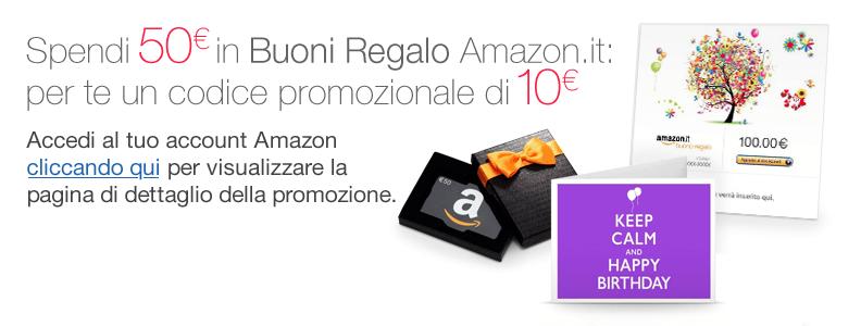 Spendi 50 euro in Buoni Regalo Amazon.it: per te un codice promozionale di 10 euro