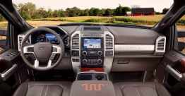 All-new 2017 Ford F-Series Super Duty offers a new interior design, including a dual compartment glove box and overhead console-mounted auxiliary switches to operate aftermarket equipment. All vital controls are close at hand – including the integrated trailer brake controller switch
