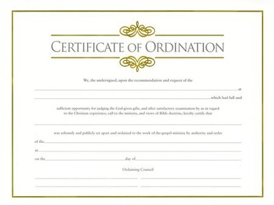 Minister\u0027s Ordination Certificate (pkg of 6) - Christianbook