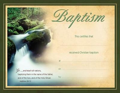 Baptism Certificate/Flowing Water (Matthew 2819) 6 - Christianbook