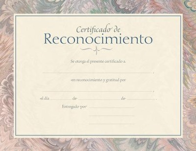 Certificado de Reconocimiento, Paquete de 6 (Certificate of