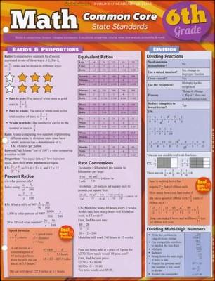 6th Grade Math Common Core State Standards QuickStudy Chart
