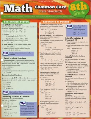 8th Grade Math Common Core State Standards QuickStudy Chart