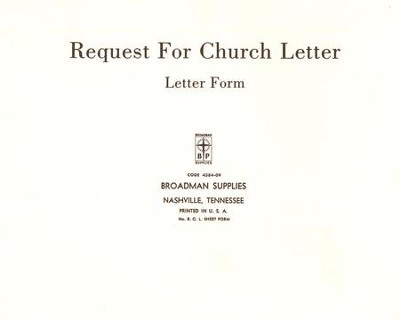 Church Letter Request Forms, RCL, 50 9780805480726 - Christianbook