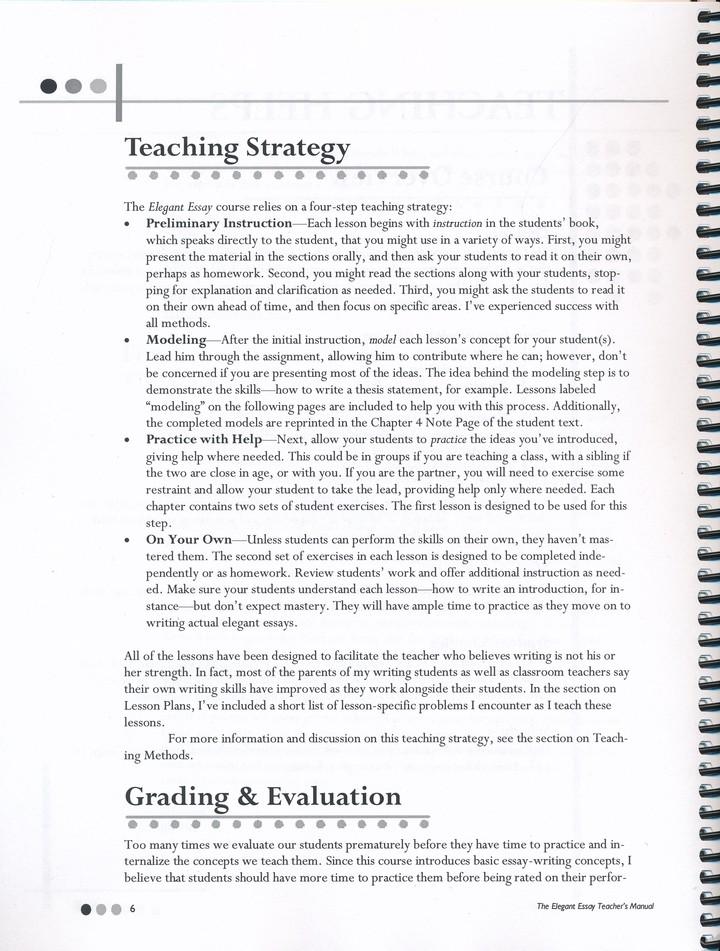 The Elegant Essay Teacher\u0027s Manual Only Lesha Myers 9781623410018