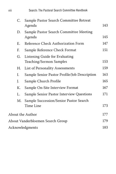 Search The Pastoral Search Committee Handbook William