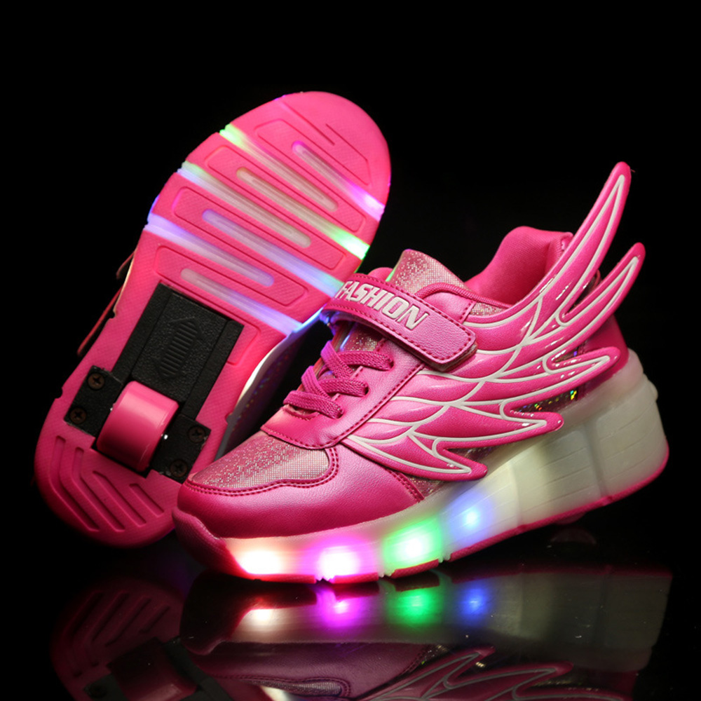 Led shoes kids roller skate children sneakers with wheels boys girls automatic led lighted flashing zapatillas con ruedas pink