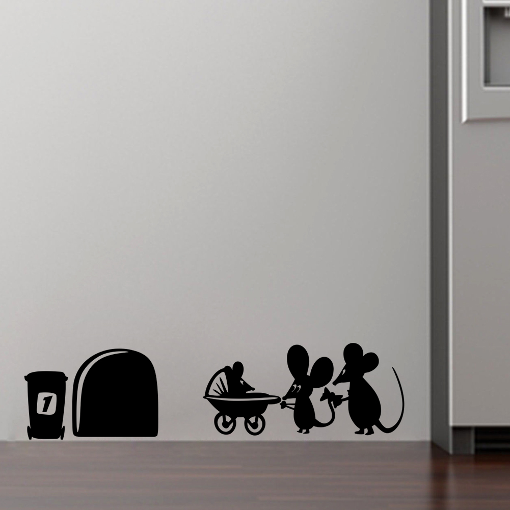 family baby mouse hole wall stickers kids rooms decals vinyl wall baby room wall stickers baby decoration