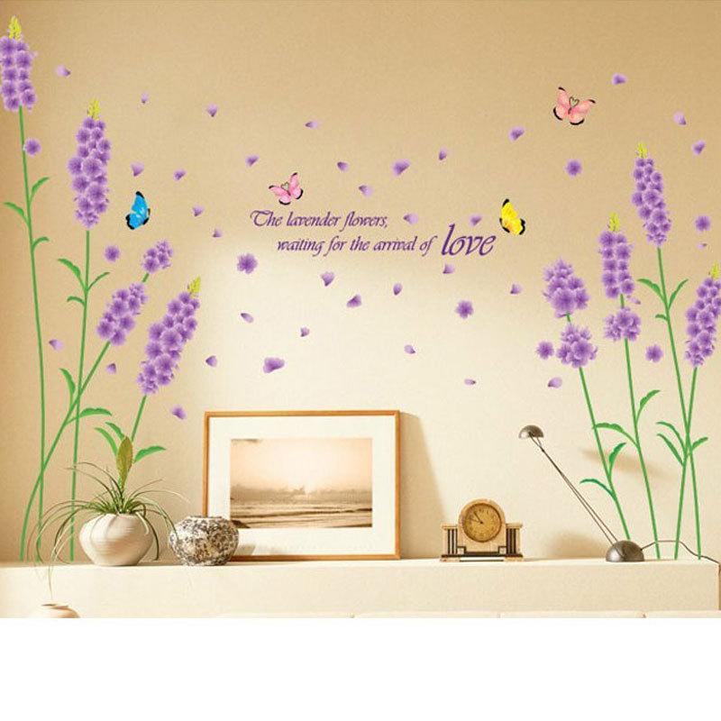 lavender flower wall stickers bedroom background wall stickers pink flower wall stickers living room bedroom wall art decals