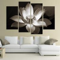 4panel Modern wall art home decoration printed flower oil ...