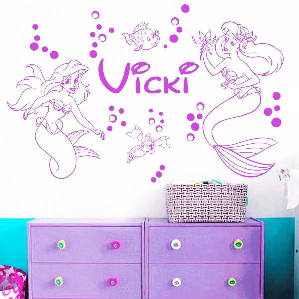 diy mermaid ariel clownfish bubble custom girlsroom wall stickers mermaid princess ariel wall sticker nursery wall decals