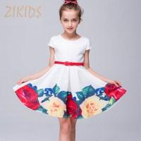 Girls Summer Dress Cute Casual Print Flowers Girl Dresses ...