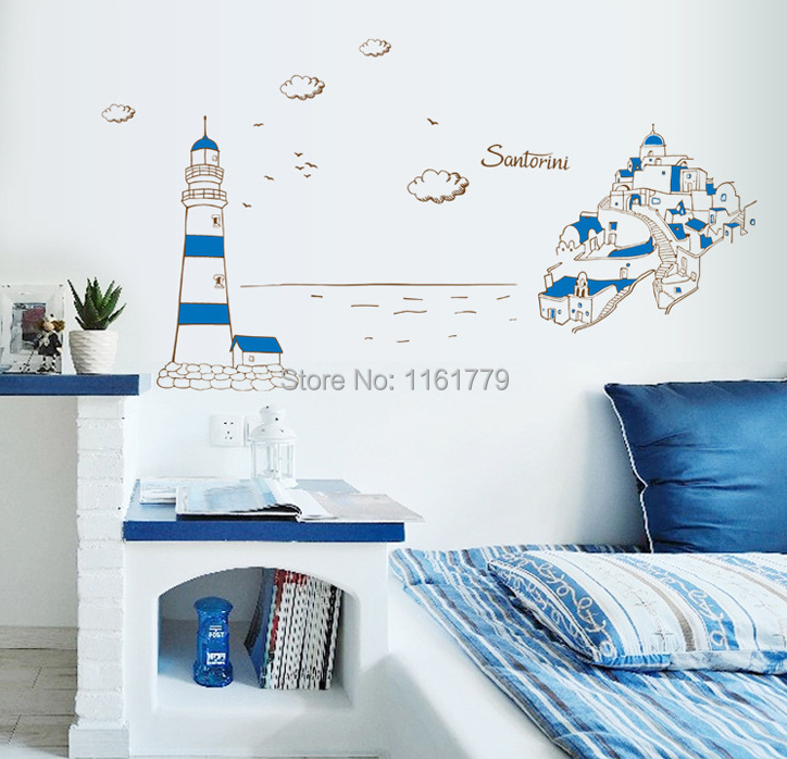special design santorini castle wall stickers kids rooms home giant glitter castle wall decal princesses