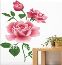 Pink Rose Wall Stickers - decorative pink rose flower wall ...