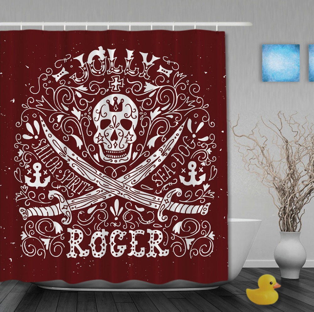 Pirate style jolly roger with retro pattern custom shower curtains waterproof fabric high quality bathroom curtain with hooks