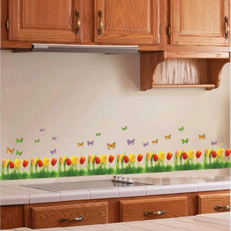 hot sale flower wall sticker pretty tulips small fence removable wall sale wall sticker commercial window wall stickers christmas