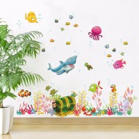 NEW Cartoon Underwater World Wall Stickers for Kids Baby ...