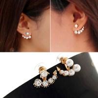 XE404 Fashion Front & Back Earrings Pearl Ear Earbobs ...