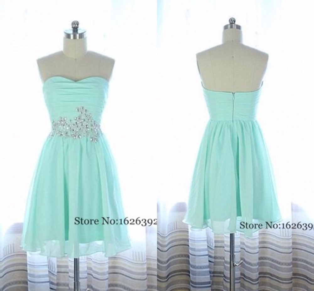Preferential Sleeves 8th Grade Prom Dresses 2 Piece 2015 Mint Green Mini Chiffon Homecoming Gowns Heart Crystal Beaded Formal Party Font B Dress B 8th Grade Prom Dresses wedding dress 8th Grade Prom Dresses