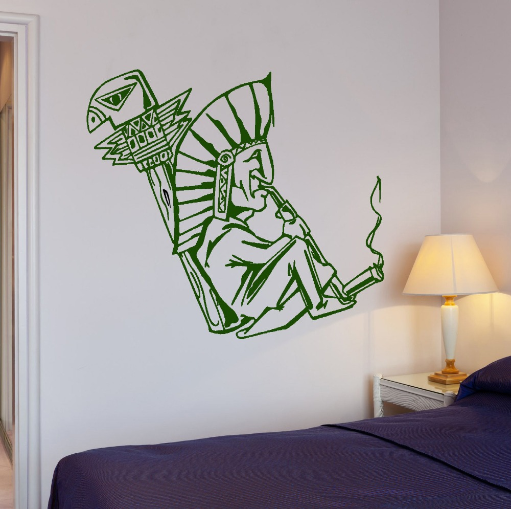 Décoration Murale Vinyle Shaman Smokes Weed Hippie Person Wall Sticker Home Decoration Vinyl Wall Decal Wallpaper Wall Art Mural