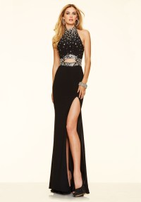 High collar Black Mermaid Prom Dresses 2016 Sexy Side ...