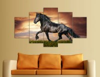 5 Panel Modern Printed Large Horse Painting Picture Animal ...