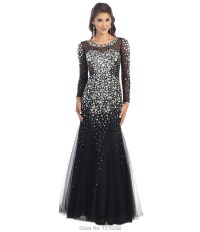 Blue And Black Prom Dresses With Sleeves