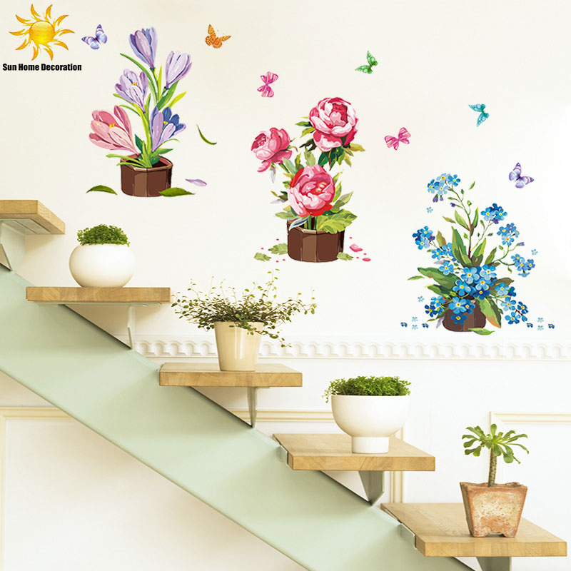 potted wall sticker flower vinyl stickers wall sticker kids category kids room designs wall decals wall stickers