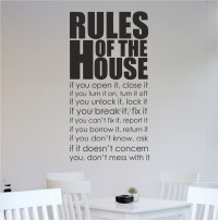 House Rules Kitchen Living Room Wall Art Sticker Wall ...
